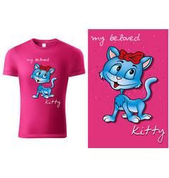 Child t-shirt design with blue cartoon cat vector