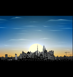 city skyline silhouette at night vector image