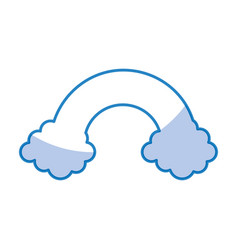 Clouds with rainbow weather icon vector