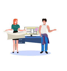 couple architects holding blueprint working on vector image