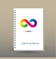 Cover of diary rainbow infinity symbol vector