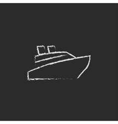 Cruise ship icon drawn in chalk vector