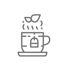 Cup english herbal tea line icon vector