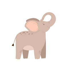 cute baby elephant standing with trunk raised up vector image