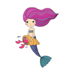 cute cartoon little mermaid siren sea theme vector image