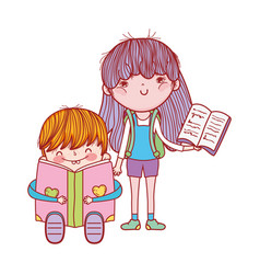cute little boy sitting reading book and girl vector image