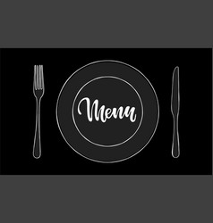Cutlery knife fork plate doodle icons with vector
