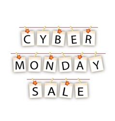Cyber Monday Banner of Blank Photos with Maple Lea vector image