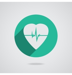 Defibrillator heart icon isolated on teal vector image