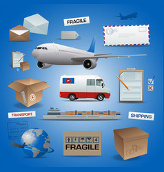 delivery elements posts and transport vector image