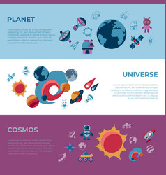 Digital space galaxy and universe icons vector