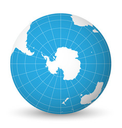 Earth globe with white world map and blue seas and vector
