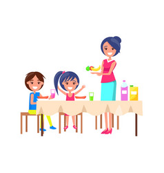 family picnic mother and kids vector image
