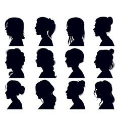 female head silhouette women faces profile vector image