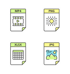 Files format color icons set multimedia image vector