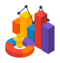 financial chart icon isometric style vector image
