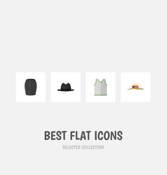 Flat icon garment set of elegant headgear stylish vector