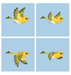 Flying european siskin female animation sprite vector