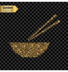 Gold glitter icon of chinese noodles vector