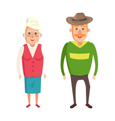 grandmother and grandfather couple elderly people vector image