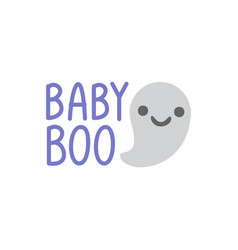 hand drawn a kawaii funny ghosts with text vector image