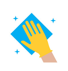hand in glove wipes dust with a napkin icon vector image