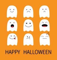 happy halloween cute ghost emoji icon set vector image