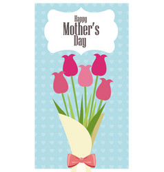 happy mothers day card bouquet flowers - dots vector image