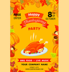 happy thanksgiving party vertical banner cartoon vector image