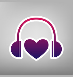 headphones with heart purple gradient vector image