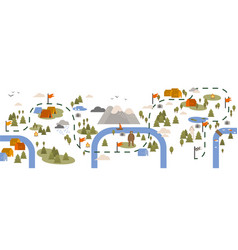 Horizontal banner with trail map hiking route vector