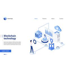 isometric blockchain crypto technology vector image