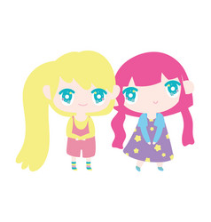 kids cute little girls anime cartoon characters vector image