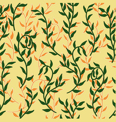 liana spreads green and orange leaves creeper vector image