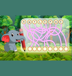 Logic puzzle game for study english with elephant vector
