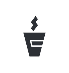 logo with cup of hot coffee vector image