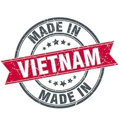 made in Vietnam red round vintage stamp vector image