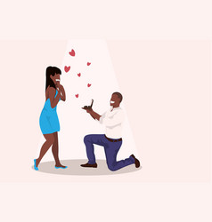 Man kneeling holding engagement ring proposing to vector