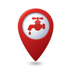 Map pointer with water tap icon vector
