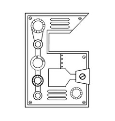 Mechanical number 6 engraving vector
