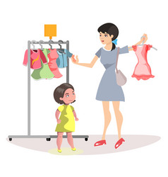 Mommy and little daughter shopping together vector