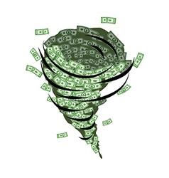 Money tornado Whirlwind of dollars Hurricane cash vector