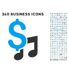 Music Price Icon with Flat Set vector