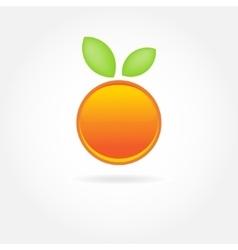 Orange fruit with green leaf logo design vector