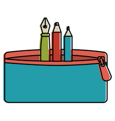 pencil case with pen and colors vector image