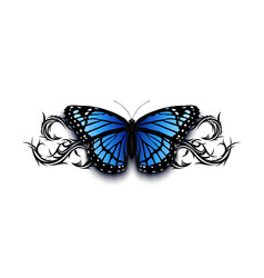 Realistic butterfly on top of abstract tribal vector