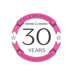 Realistic thirty years anniversary celebration vector