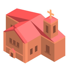 Red brick church icon isometric style vector