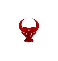 Red bull connection logo electronic buffalo logo vector