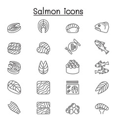 salmon icon set in thin line style vector image